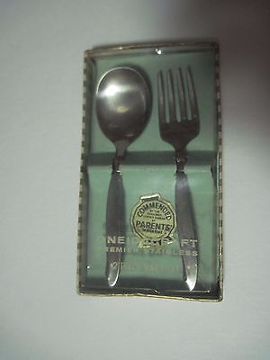 Vintage Infant Oneidacraft Premiere Stainless 2 Piece Feeding Set Fork and Spoon