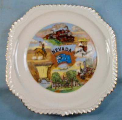 Nevada State Decorative Souvenir Plate Square Shape Gold Scalloped (O2) AS IS