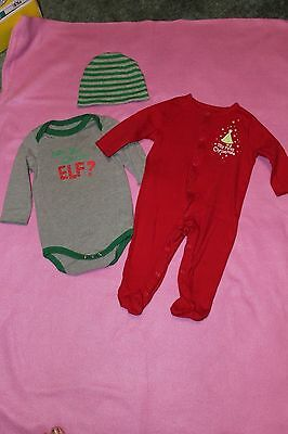 2 piece lot. 9 months Christmas outfits. long sleeve. bodysuit hat pajamas