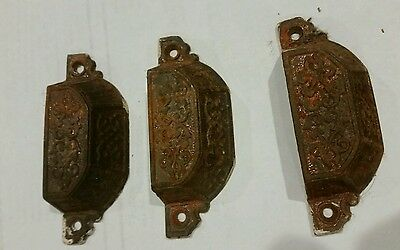 Vintage Antique Set Of 3 Drawer Cabinet Bin Cup Handles