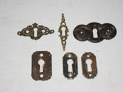 Keyhole Covers Antique Vintage Escutcheon Plate Mixed Lot of 6