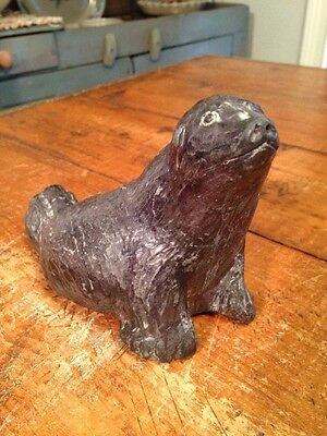 Vintage Carved Black Stone Sea Lion Nuvuk Canada