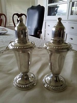 antique EMPIRE sterling silver weighted salt & pepper shakers numbered