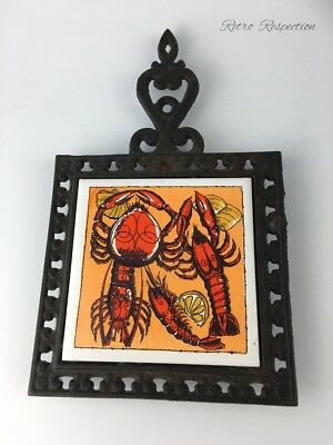 RETRO Tile & Cast Iron Trivet - Lobster Theme - Made in Japan