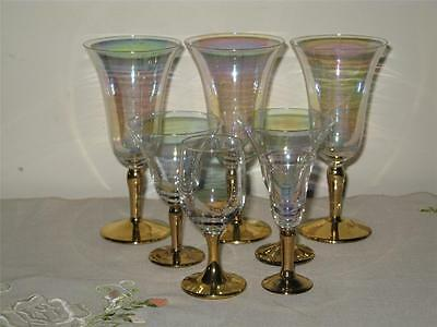 Collection Of 7 Iridescent Glasses With Gold Stems