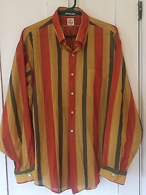 Vintage Retro Hipster Donegal Button Down Dress Shirt, Striped, Size Extra Large