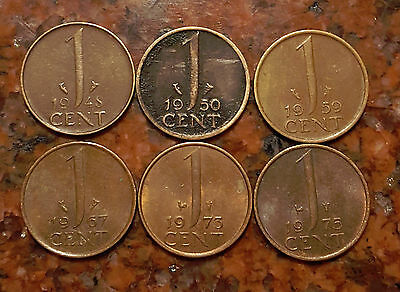 Lot Of (6) 1 Cent Netherlands Coins - #392