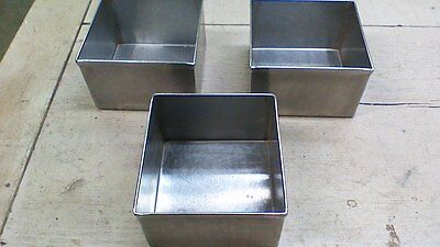 """3 STAINLESS STEEL pans  or bins 6 1/2""""x6""""x4""""  INDUSTRIAL TRAY HEAVY DUTY!"""
