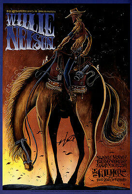 Signed Willie Nelson Autograph Fillmore Poster with Backstage Passes and Picks