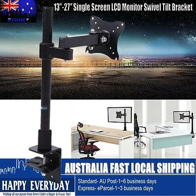 "13-27"" Single Arm Monitor LED LCD Screen VESA Display Bracket Stand Desk Mount"