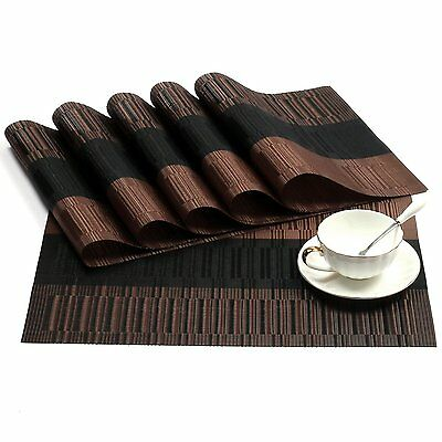Table Placemats Set of 6 Woven Vinyl Placemats Place Mats Coffee Black Brown