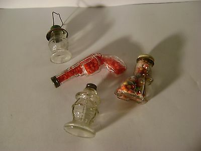 Lot of 4 Antique Clear Glass Candy Containers