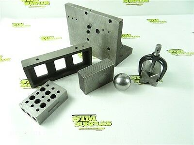 Nice Assorted Lot Of Machinists Precision Parallel Blocks & Angle Plate + Ball