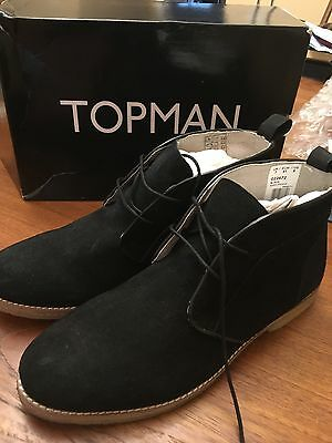 Topman Black Faux Suede Desert Chukka Boots US Size 8 (New With Box) 978c2ba99df8
