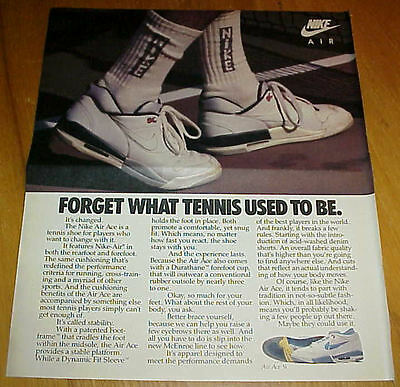 1988 NIKE Air Ace & Air Ace 3/4 Tennis Shoes Large 3 Page Ad McEnroe #030317