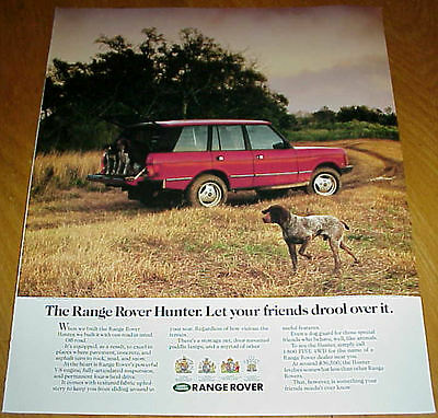 1987 Range Rover Hunter 1 Page Ad German Shorthaired Pointer Dogs #032017