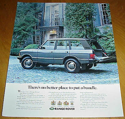"""1990 Range Rover 1 Page Ad """"No Better Place to Put a Bundle"""" #032017"""