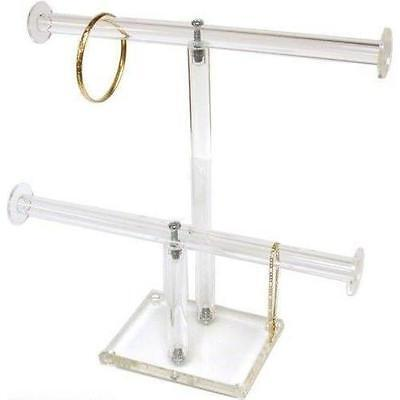 2 Tier Clear Acrylic Jewelry Stand T-Bar Chain & Bracelet Display