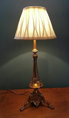 Antique Reg Mark 1908 French Gilt Brass Table Lamp. Fully Rewired