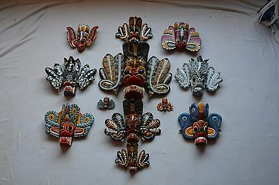 Collection Of Carved Sri Lanka (Ceylon) Naga Raksha Wall Masks Vintage