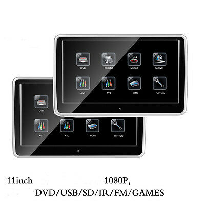 "2PCS 11.2"" HD 1080P Touch Screen Car Headrest DVD Monitor Player HDMI USB/SD/FM"