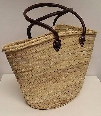Moroccan Market Shopping Basket- Large - Leather Handles  - 55x18x30 cm