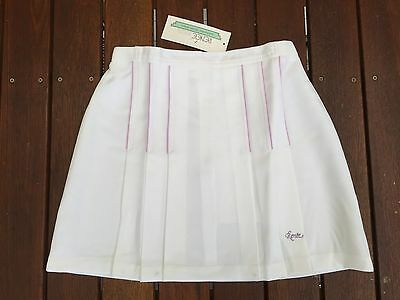 RENEE Retro Style Ladies Girls Tennis Skirt in White w/ Front Pocket Size 12 14