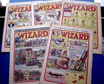 THE WIZARD COMIC  x 5 ISSUES  1953  CHARGE OF THE LIGHT BRIGADE etc. SCOTS GREYS