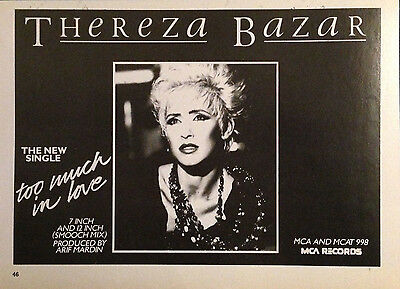 THEREZA BAZAR. TOO MUCH IN LOVE - HALF PAGE ADVERT FROM 1980s No1 MAGAZINE