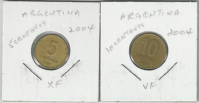 xx From Accumulation - 2 COINS from ARGENTINA - 5 & 10 CENTAVOS (BOTH 2004)