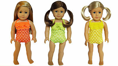 3 Swimsuits Orange,Lime, Yellow  for American Girl Dolls-18 Inch Doll Clothes