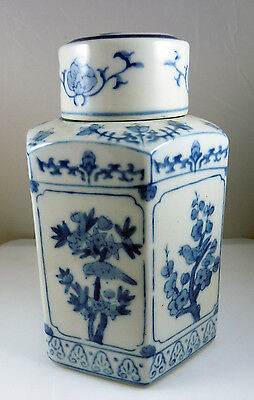 Chinese Asian Blue & White Hexagonal Covered Porcelain  Jar / Caddy