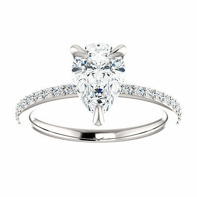 1.30ct Pear-Cut Delicated Diamond Solitaire Engagement Ring 10K White Gold Over