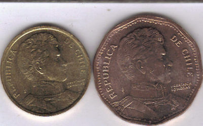 2 DIFFERENT COINS from CHILE - 10 & 50 PESOS (BOTH DATING 2006)