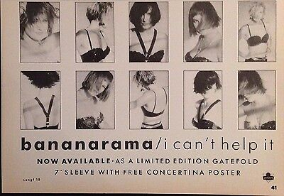 BANANARAMA. I CAN'T HELP IT - HALF PAGE ADVERT FROM 1980s No1 MAGAZINE