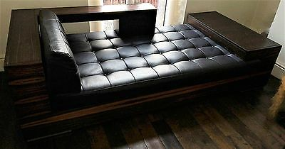 Extraordinary Vintage Zebrano And Leather Designer Chaise & Sofa Both 84 Inches
