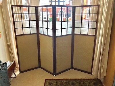 Heavy, Edwardian Mahogany & Glass 5 Panel Dressing Screen / Room divider