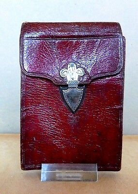 Antique English Regency Period Red Moroccan Leather Wallet Purse Circa 1820's