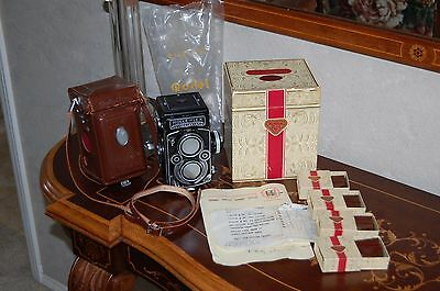 ROLLEIFLEX TLR Model K4F 3.5F 75mm Camera Xenotar+Filters+Conversion Kit+Boxes