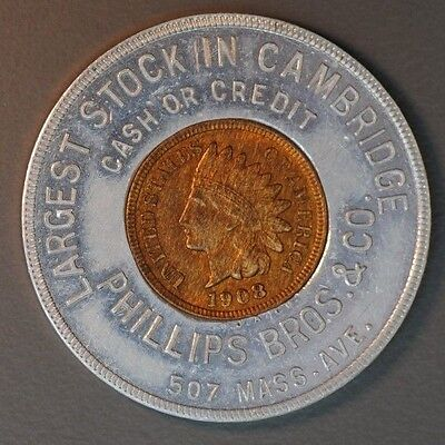 Encased Uncirculated 1908 Indian Cent Phillips Bros. &co. Cambridge, Mass.