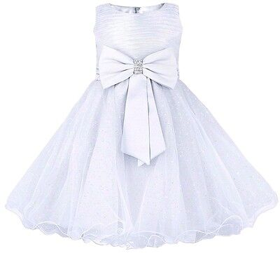 Baby Girls Dress Christening Wedding Flower Girl Princess Party Outfit White