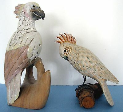 Tropical Bird,Wood Carved Figurines, (2) Painted, Two Figurines