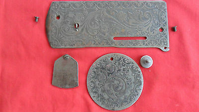 Antique Singer Treadle Sewing Machine 27 Front Face And Side Cover Plates