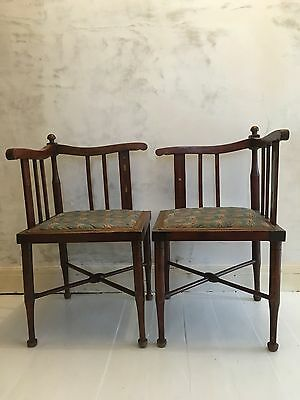 Lovely Pair of Antique Corner Chairs | Edwardian in style | Inlay | Wooden