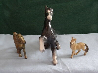 Vintage Lot of 3 Miniature Horse Figurines - Porcelain and Metal