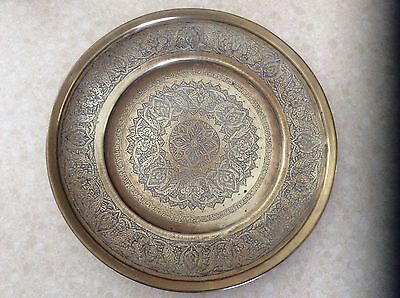 """Antique Middle Eastern  Brass Tray  hand hammered ,  very ornate, 12"""" diameter"""