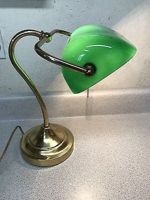 Vintage Bankers Lamp Green Glass Shade Desk Table Piano Office Study