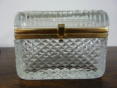 Vintage Diamond Point Pattern Clear Glass Gilt Frame Jewelry Casket Box