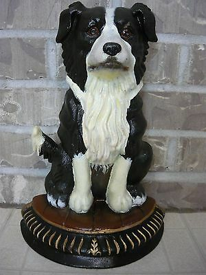 "Border Collie Cast Iron Doorstop Statue Large 13.5"" Tall"
