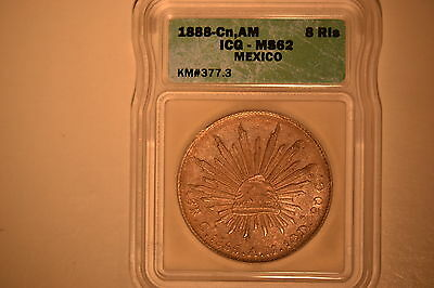 1888-Cn, AM Mexico 8 Reales ICG MS-62  KM#377.3